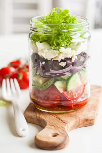 Greek Salad Mason Jar